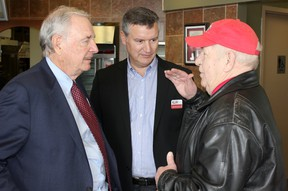 Canada's former Prime Minister Paul Martin visited a Kincardine Tim Hortons with Huron-Bruce Liberal candidate Allan Thompson on February 25, 2015, to endorse his 2015 federal election campaign. Martin and Thompson are seen taking with local man, Jack Crozier. (TROY PATTERSON/KINCARDINE NEWS)