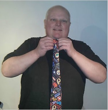 "Now you can own the NFL tie Rob Ford was wearing when he admitted he had smoked crack cocaine. Ford put the tie up on eBay on Wednesday as he continues to sell off memorabilia from his embattled mayoral reign. New items also added on Wednesday include a Roughriders jersey, his pajama pants that he was photographed wearing in WalMart and the ""Keep Calm and Carry On"" sign that once was on display in the mayor's office reception area. (Photo: eBay)"