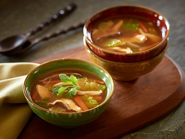 Spicy Thai Chicken and Cabbage SoupThis healthy winter comfort soup is full of flavour and local fare.Ingredients:4 cups (1 L) sodium-reduced chicken broth8 oz (250 g) boneless skinless chicken breast, cut into bite-size strips3 cups (750 ml) coarsely chopped savoy cabbage2 cups (500 ml) sliced stemmed shiitake mushrooms (about 5 oz/150 g)1 Tbsp. (15 ml) finely chopped fresh gingerroot1 onion, halved and thinly sliced lengthwise1 carrot, cut into julienne strips3 Tbsp. (45 ml) fish sauce or soy sauce2 Tbsp. (30 ml) Thai red curry paste (or more, if you like)2 Tbsp. (30 ml) fresh lime juiceFresh corianderDirections:In large pot, bring broth and 2 cups (500 ml) water to boil. Stir in chicken; cook over medium heat for 3 minutes. Add cabbage, mushrooms, ginger, onion, carrot, fish sauce and curry paste; bring to boil. Reduce heat, cover and simmer until vegetables are tender, about 15 minutes, stirring occasionally. Stir in lime juice. Serve garnished with coriander.Serves 4-6.