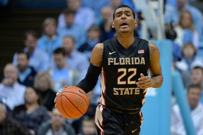 Xavier Rathan-Mayes #22 of the Florida State Seminoles moves the ball against the North Carolina Tar Heels during their game at the Dean Smith Center on January 24, 2015 in Chapel Hill, North Carolina.  Grant Halverson/Getty Images/AFP