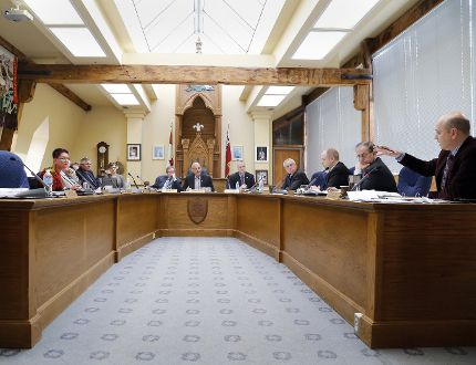 Member of Belleville, Ont. city council are discussing 109 proposed capital budget items in council chamber at city hall Thursday, Feb. 26, 2015. - JEROME LESSARD/THE INTELLIGENCER/QMI AGENCY