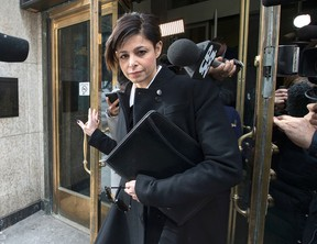 Lawyer Marie Henein, who represents Jian Ghomeshi, leaves College Park court after a brief court appearance on Thursday, Feb. 26, 2015. (CRAIG ROBERTSON/Toronto Sun)
