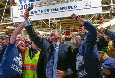 With 400 new jobs on top of the 1,000 new jobs last year. Ford Canada in Oakvillle is proud to announce the all new Ford Edge. Joe Hinrichs does a selfie on Thursday February 26, 2015. Dave Thomas/Toronto Sun