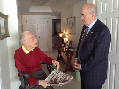 Saturday, Dec. 20, 2014 Ottawa -- Veterans Affairs minister Julian Fantino paid a visit Friday, Dec. 19, 2014 to Second World War veteran Ernest Cote, who at 101 years old was the victim of a violent home invasion at his condo. Special to QMI Agency.