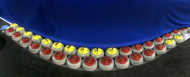 Curling rocks are lined up and ready in preparation for the The Brier in Calgary, Tuesday, Feb. 24, 2015. (Jim Wells/Calgary Sun/QMI Agency)