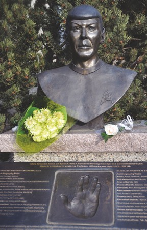 These flowers were placed Friday on the bronze bust of Leonard Nimoy, famous for his portrayal of the character Spock in Star Trek movies and the original TV show, that's located in Vulcan's downtown. Nimoy died Friday at the age of 83. Stephen Tipper Vulcan Advocate