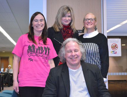 <p>Expositor Staff</p><p>Michelle Noiles (left), Judy Tomczak and Lindsay Serbu joined reporter Vincent Ball for The Expositor's livestream chat Wednesday at the Brantford Public Library. Tomczak is a mother of a young woman battling drug addiction, and bravely shared her story with the public.