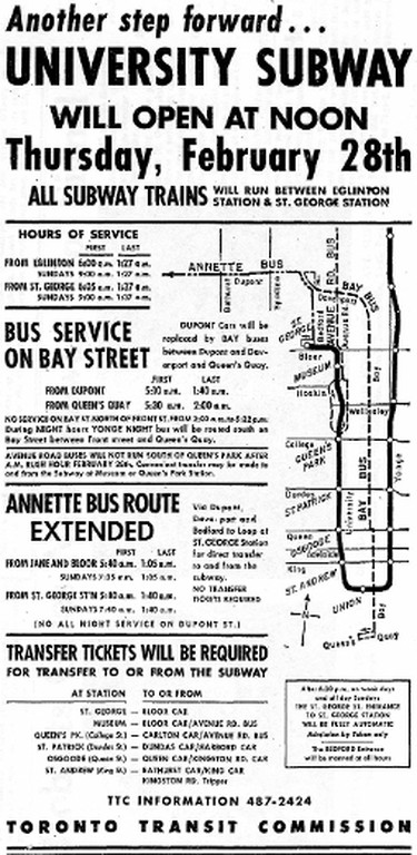 """This newspaper ad appeared on Feb. 28, 1963, proclaimed as """"Subway Extension Opening Day,"""" gave TTC patrons all the information they needed to know to start using the new University Ave. extension to the Yonge subway. The Yonge line's southern terminus had been at Union Station. The St. George station would connect with the new Bloor-Danforth subway, the first section of which, Keele to Woodbine, opened two days short of three years later."""