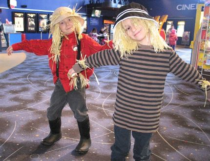 <p>Friends Klayton Brown (left) and Orion Desormeaux, both six, were having fun as scarecrows on Saturday, Feb. 28, 2014, in Cornwall, at Habitat for Humanity Seaway Valley's presentation of The Wizard of Oz, at the Galaxy Cinemas.</p><p> TODD HAMBLETON/CORNWALL STANDARD-FREEHOLDER/QMI AGENCY