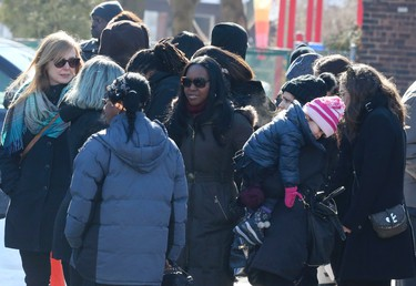 Hundreds gathered outside of St. Matthew's United Church for the funeral of three-year-old   Elijah Marsh on Saturday, Feb. 28, 2015. Marsh died after leaving his grandmother's apartment in the early morning hours, on an extremely cold night. Veronica Henri/Toronto Sun/QMI Agency