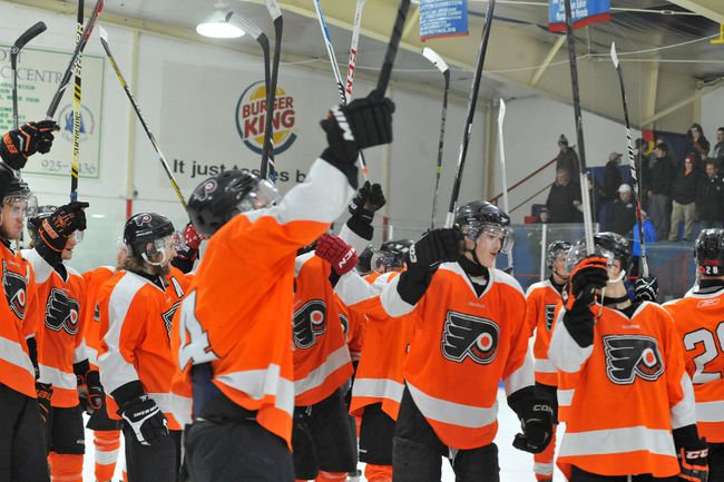 The Prescott Flyers raise their sticks to the crowd at the Leo Boivin Community Centre after getting bumped out of the playoffs in 2015. That will have been the last game the Flyers will have played in the post-season and it was a season when the Flyers won the Gill Cup. (File photo)