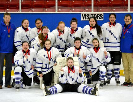 The Timmins High &Vocational School Blues edged the École secondaire catholique Thériault Flammes 1-0 Tuesday, to win the NEOAA Girls Hockey Tournament. Members of the championship team are, front row, from left: Kate Landers, Sarah Johnston, Taylor Kirley, Lindsey Strum and Thea Wucher. Back row, from left: coach Colin Sullivan, Kelly Bennett, Ramona Sutherland, Becky Jezic, Sydney Lia, Shannon Lachance, Kelsie Iserhoff, Monica Kataquapit and coach John Elliott.