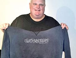 Rob Ford is pictured with a sweat shirt which appears to be the one he wore in a notorious photo.