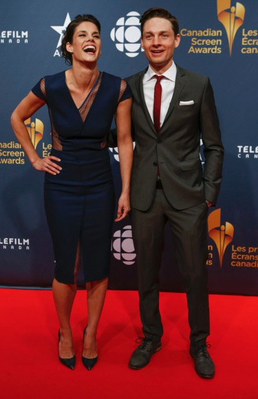 Missy Peregrym and Gregory Smith arrive at the 2015 Canadian Screen Awards in Toronto, March 1, 2015. (Dave Thomas/QMI Agency)