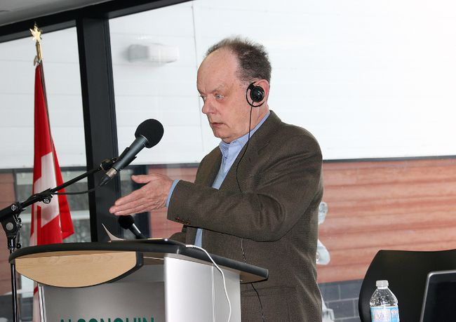 CBC broadcaster Rex Murphy hosts his live call in show Cross Country Checkup from Algonquin College's waterfront campus in Pembroke on Sunday afternoon. The show was a lively discussion on whether education was serving the needs of Canada's young people.
