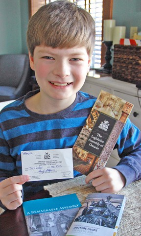 Joel Britton, 10, of RR 2 Dublin, had the opportunity to visit Queen's Park, last Monday, Feb. 23, a guest of MPP for Perth-Wellington, Randy Pettapiece. KRISTINE JEAN/MITCHELL ADVOCATE