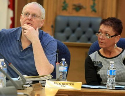 JASON MILLER/The Intelligencer Art MacKay (left), manager of policy planning, and Coun. Jackie Denyes at Monday's city planning meeting in Belleville.