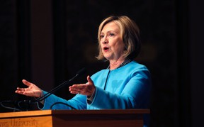 """Former U.S. Secretary of State Hillary Clinton speaks on """"Smart Power: Security Through Inclusive Leadership""""  at Georgetown University in Washington in this December 3,  2014 file photo.  REUTERS/Kevin Lamarque/Files"""