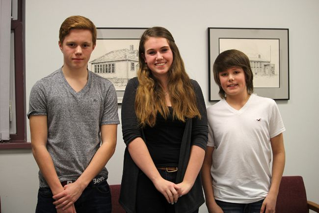Yellowquill School Social Justice Club members Tyler Morris, Juliette Tower and Logan Rands present to the Portage la Prairie School Division Board of Trustees at their Feb. 26 meeting about the MCIC conference they attended in January. (Johnna Ruocco/THE GRAPHIC/QMI AGENCY)