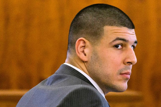 Former NFL player Aaron Hernandez looks at the prosecutor during his murder trial at the Bristol County Superior Court in Fall River, Mass., on Tuesday, March 3, 2015. (Dominick Reuter/Reuters)