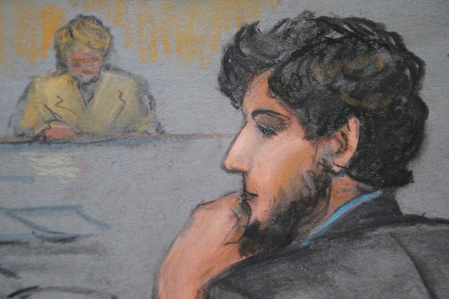 A courtroom sketch shows Boston Marathon bombing suspect Dzhokhar Tsarnaev during the jury selection process in his trial at the federal courthouse in Boston, Jan. 15, 2015. (JANE FLAVELL COLLINS/Reuters)