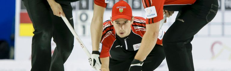 <p>Matt Camm of Team Ontario delivers a rock between David Mathers and Scott Howard during the second draw of the Tim Horton's Brier at the Scotiabank Saddledome in Calgary, Alta. on Saturday. The Brier runs until March 8.</p><p>Lyle AspinallQMI Agency