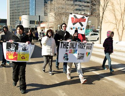 Students from Teulon Collegiate, along with a few staff members, were among the scores marchers who took to the streets in Winnipeg Feb. 25 to protest against racism. Recently, Mclean's magaine deemed Winnipeg to be the most racist city in Canada. (Submitted photo)