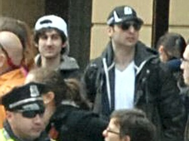 Tamerlan (R) and Dzokhar Tsarnaev are seen in a photo released by the FBI, dating from when they were being sought for questioning for the Boston Marathon bombings in this April 18, 2013 file photo. REUTERS/FBI/Handout