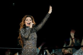 Shania Twain performs at the Scotiabank Saddledome during the Calgary Stampede in Calgary, Alta., on Wednesday, July 9, 2014. Lyle Aspinall/Calgary Sun/QMI Agency