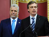 Quebec Premier Philippe Couillard and Marc Tanguay, MP for the riding of Lafontaine on April 17, 2014 in Quebec City. JEAN-FRANCOIS DESGAGNES/QMI AGENCY