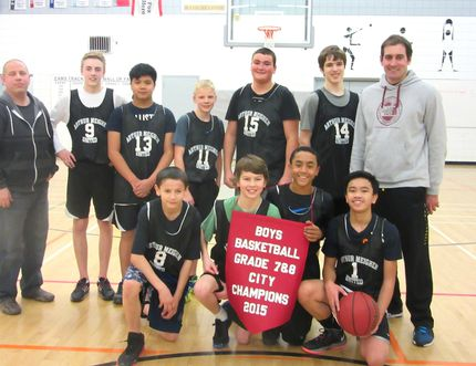 Ecole Arthur Meighen's boys team poses after winning the 2015 city championship by beating Yellowquill School 50-29 on Feb. 26. (submitted photo)