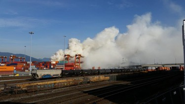 Port Metro Vancouver cleared nearby buildings after a fire container at 700 Centennial Street erupted on Wednesday afternoon. (ScanBC Twitter photo)