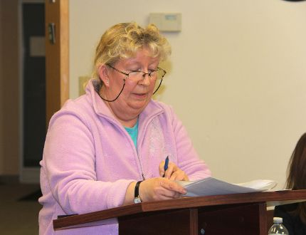 Susan Guzzo, who lives on Zanders Road in the Township of Laurentian Valley tells council-in-committee on March 3, she's opposed to the extension of a snowmobile trail on the road allowance at the side of her farm.
