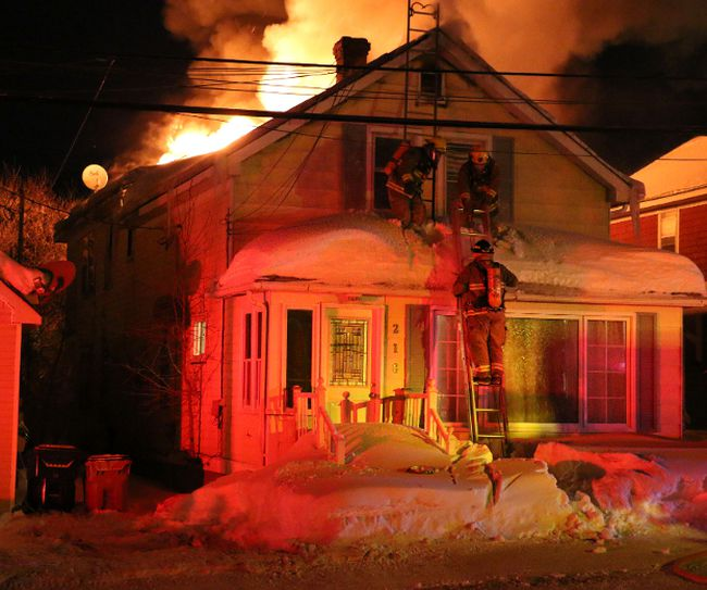 Fire scene at Sixth Avenue in Timmins Thursday March 5th, 2015.   (Len Gillis/The Daily Press)
