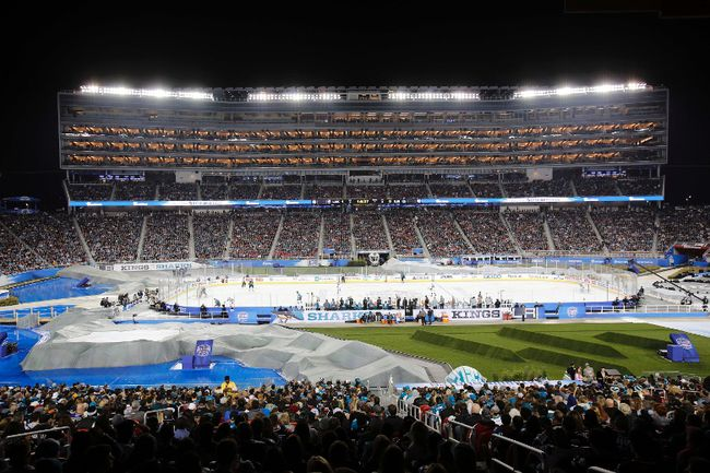 A general view of the Stadium Series hockey game between the San Jose Sharks and the Los Angeles Kings at Levi's Stadium in Santa Clara, Calif., on Saturday, Feb. 21, 2015. (Kelley L Cox/USA TODAY Sports)