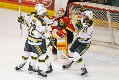 Golden Bears forward Brett Ferguson (8) celebrates his first period goal against the Dinos with teammates as the University of Alberta Golden Bears play the Calgary Dinos at Clare Drake Arena for the Canada West final at the University of Alberta in Edmonton, Alta., on Thursday, March 5 , 2015. Ian Kucerak/Edmonton Sun/ QMI Agency
