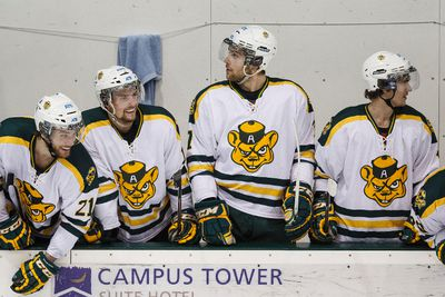Golden Bears players are seen on the bench during the third period as the University of Alberta Golden Bears play the Calgary Dinos at Clare Drake Arena for the Canada West final at the University of Alberta in Edmonton, Alta., on Thursday, March 5 , 2015. The Golden Bears won 5-2. Ian Kucerak/Edmonton Sun/ QMI Agency