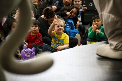 Treehouse TV characters Toopy and Binoo perform for children and parents during the Mom, Pop & Tots Fair at Edmonton Expo Centre in Edmonton, Alta., on Friday, March 6 , 2015.  The show runs March 6 and 7. Ian Kucerak/Edmonton Sun/ QMI Agency