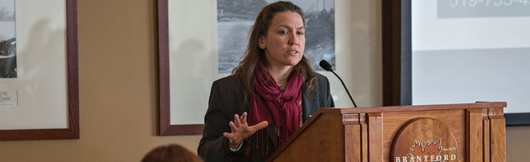 <p>Christina Rajsic, director of health promotion at the Brant County Health Unit speaks on Thursday, March 5, 2015 during the A Vision of Health forum at the Brantford Golf and Country Club in Brantford, Ontario.</p><p>Brian Thompson/Brantford Expositor/QMI Agency