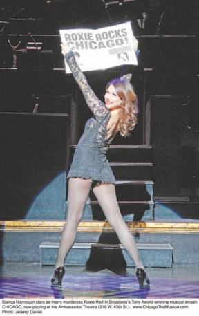 Bianca Marroquin stars as Roxie Hart in the touring production of the Broadway hit Chicago: The Musical, which is at the Budweiser Gardens? RBC Theatre Tuesday and Wednesday. (JEREMY DANIEL, Special to QMI Agency)