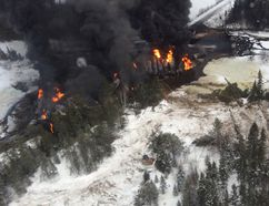 Aerial views of the CN derailment near Gogama on March 7 reveal the scope of the damage to the train as well as the spill of crude oil in the Makami River, which flows into the Mattagami River watershed.