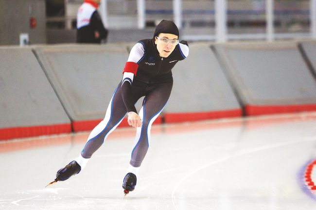 Sherwood Park resident and physiotherapist Cindy Coneen recently set two Canadian records for her time in the 1,500-metre and 3,000-metre races during the Masters Allround Games in Calgary. (Photo Supplied)