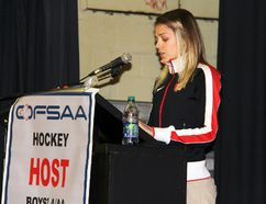 Eganville native and Olympian Melissa Bishop speaks to student athletes at Fellowes High School in Pembroke on Monday, March 9. Bishop was the guest of honour at a welcoming banquet for the OFSAA boys hockey A/AA provincial championship hosted by Fellowes this week.