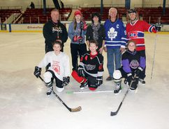 On Saturday, March 7, in Pembroke, the Boys and Girls Club of Pembroke wrapped up its Access Hockey program at the Pembroke Memorial Centre. Here, a group thanks the Alice and Fraser Minor Sports Association, one of this year's supporter's. The association donated $500 to help the program out this year. Pictured here, left to right in front are: participants, Terrence Schultz, 10, Owen Ellis, 11 and Faith Landry, 10. Back, left to right are: Rick Klatt, volunteer coach, Melanie Pratt, volunteer coach and program leader, Rhodina Turner, the Boys and Girls Club of Pembroke's new executive director, Ken Brown, treasurer for the minor sports association, and Jamie Benn, another volunteer coach.