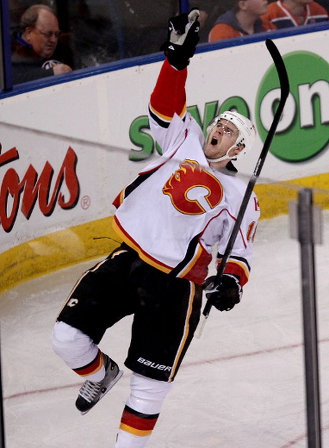 Calgary Flames forward Matt Stajan points skyward in tribute to the son he lost after scoring a goal a year ago in Edmonton. SUN file photo.