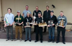 Submitted photo: The Wallaceburg Lakers held their hockey banquet at the Moose Lodge on March 7. Award winners included, left to right, Jacob Theoret, best defenceman; Josh Berkvens, most improved; Tyler Shaw, most sportsmanlike; Lucais Meyskens, MVP and top scorer; Connor Johnston, Tristan Carswell Memorial Heart and Soul Award; Mike Brown, best defensive forward. Absent from photo; Brendan Ritchie, rookie if the year; Evan Weidenbach, most dedicated. Back row, coaches Ken Shine, Brian Griffith, Mike Oliveira.