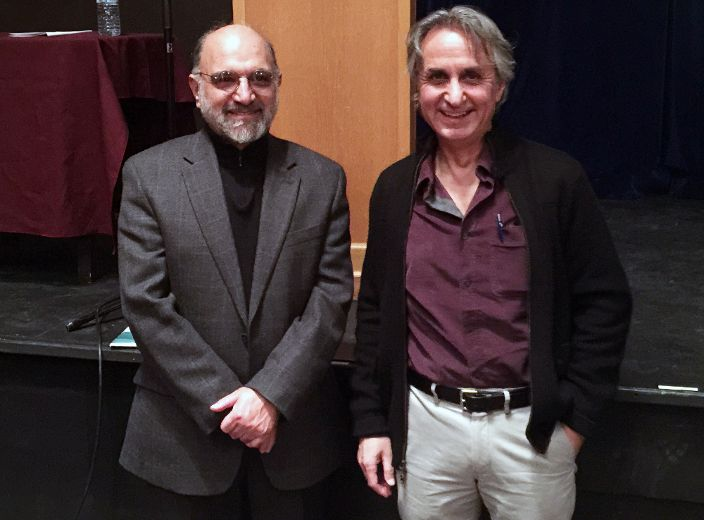 Renowned Islam and political academics Abdolkarim Soroush, left, and Asef Bayat gave keynote speeches and participated in panel discussion during the Islamism and Post-Islamism conference at Queen's University on Saturday. (Supplied photo)