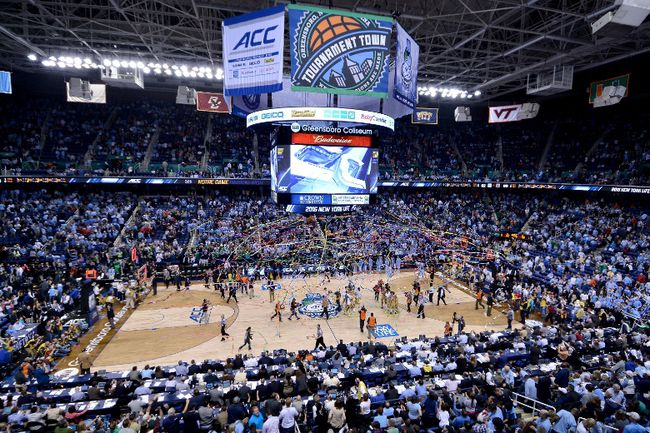 A general view of the court after the Notre Dame Fighting Irish defeated the North Carolina Tar Heels 90-82 to win the 2015 ACC Basketball Tournament Championship game at Greensboro Coliseum on March 14, 2015. (Grant Halverson/Getty Images/AFP)