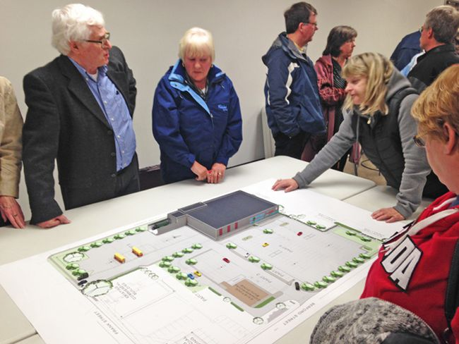 Traffic Engineer Frank Berry addresses public questions after the public meeting hosted by Sobey's on March 16 in Wiarton. Nelson Phillips photo.