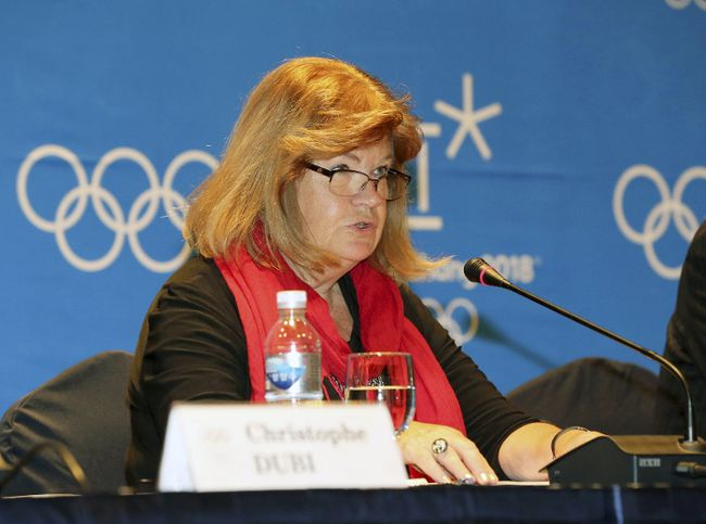 Gunilla Lindberg, chair of the IOC's coordination committee for 2018, speaks during a news conference in Gangneung March 19, 2015. (REUTERS/Yoo Hyung-jae/Yonhap)